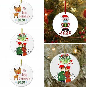 Kolye Parti Dekorasyon DENİZ NAKLİYE LJJP547 Asma 6cm Yuvarlak Noel Süsleme Elk Noel Baba Aile My First Noel Yılbaşı Ağacı