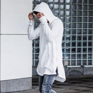 new Clothing Mens Hoodies Sweatshirts Hip Hop Long Zipper Streetwear Sweatshirt Cut Extended Hoody Men male shirts