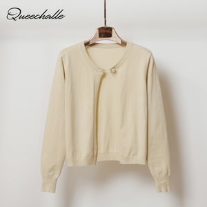 Queechalle Short Knitted Cardigan Coat Women 2020 Spring Autumn Fashion Chain Button Long Sleeve Sweater Coat Female Loose Tops