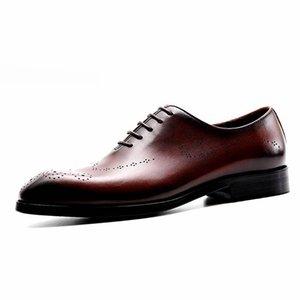 Men leather shoes business dress suit shoes men Bullock genuine leather black lace up wedding mens shoes 2020