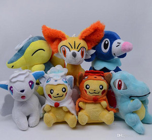 """Top New 7 Styles 5"""" 13CM Alola Vulpix PKC Totodile Cyndaquil Fennek Popplio Plush Doll Anime Collectible Stuffed Pendants Gifts Soft Toys"""