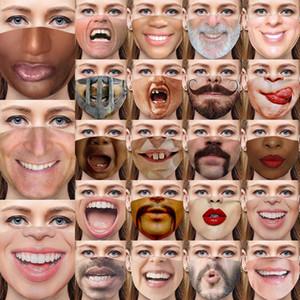 DHL 2020 23 Arten 3D Gesichtsausdruck merkwürdig Lippendruck Designer Masken Staub Baumwolle Gesichtsmaske Halloween einzigartige Druckmasken personalisiert