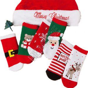 Baby Weihnachtssocken Weihnachtsmann Bär Snowflake Elk Muster Eindickung Weihnachtssocken ins Kinder Kinder Jungen Terry Socken Strümpfe D9808