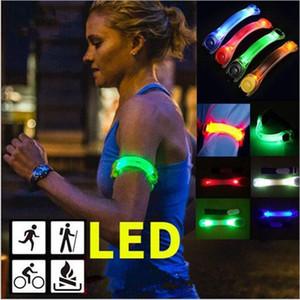 Led Silicone Reflective Armband Light Night Safety Warning Sports Night Running Shoe Safety Clips light Bracelet LED Toys doublewin007