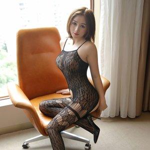 iKsDJ Lin baskı leopar sapan çorap İpek iç çamaşırı çorap-içi boş dışarı Sling tüm vücut siyah seksi under seksi yeni tek parça ipek Hav bırakma