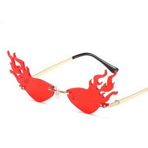 Trending Sun Styling Rimless Female Ropa Streetwear Fuego Gafas de sol Gafas Gafas Sombras frescas para mostrar exageración Party Iekxm