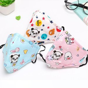 PM2.5 Children Mouth Mask Respiratory Valve Cartoon Panda Thicken Smog Mask Warm Dust Mask Fits 2-10 Years Old Kids