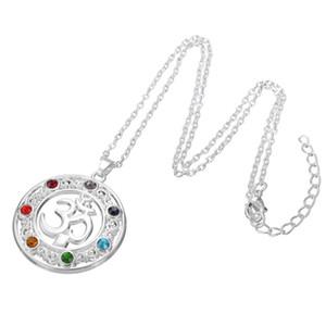 OM sânscrito Aum Pingente colorido Cadeia strass colar de pingente de amuleto