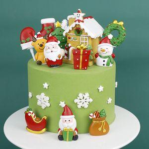 Decoración de la torta del partido del festival de bricolaje pastel de Navidad Toppers brillo cumpleaños de la boda de Navidad Suministro artículos de la novedad árbol casa Santa muñeco de nieve