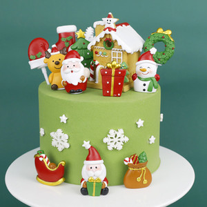 DIY Christmas Cake Toppers Glitter Wedding Birthday Christmas Festival Party Cake Decoration Supply Novelty Items Tree house santa snowman