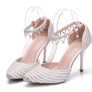 Luxury 9.5 cm High Heels Wedding Shoes For Young Ladies Pearls Crystal Evening Party Wear Bridal Shoe In Stock Free Shipping