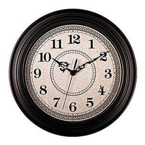 Silencioso não assinalando Rodada Contemprary Antique Wall Clocks (12 polegadas) decorativa Estilo Vintage, Preto