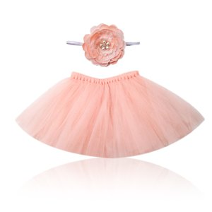 Tutu Headband Set Princess Smash Pastel Hermoso Blush Tutu Falda New Born Girls Tulle Infant Tutu