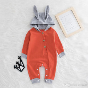 Spring Fall INS Toddler Baby Boys Hoodies Rompers Hooded Jumpsuits Long Sleeve Cat Ears Front Wood Button Newborn Onesies for 0-2T
