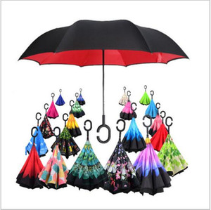 Yeni yüksek kalitede moda şemsiye çift katmanlı ters şemsiye C tipi kanca el yağmur geçirmez kendiliğinden geri katlama anti şemsiye rüzgar geçirmez