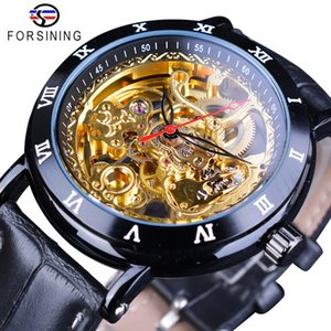 Forsining Royal Flower Carving Gear Golden Movement Genuine Leather Roman Number Bezel Mens Mechanical Watches Top Brand Luxury