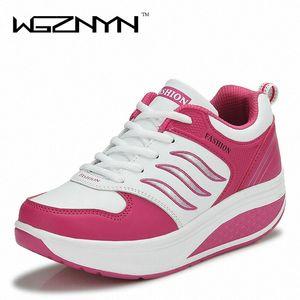 WGZNYN 2020 Новое прибытие Повседневная обувь Женщина Рост Увеличение похудения Свинг обувь дышащая воздуха Mesh Платформа 5aeO #