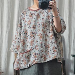 Johnature Women Vintage Cotton Linen T-Shirts Pockets Loose 2020 New Autumn O-Neck Seven Sleeve Plus Size Women Clothes T-Shirts 0924