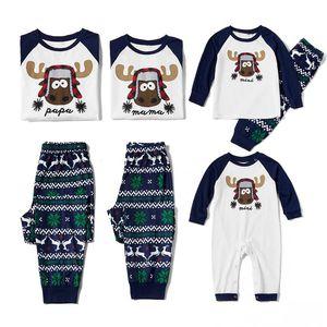 Pijama veliler çiftler Sleepwear Aile Pijama Bagby çocuklar Pijama erkeklerin kadınları Eşleştirme Noel Pijama baskılı Yeni tasarım sevimli geyik