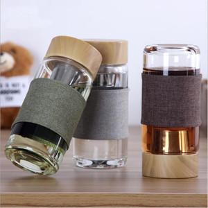 Glaswasserflaschen hitzebeständig Runde Büro Teetasse Tee-Becher Auto Tumblers Edelstahl-Tee Infuser Sieb Thermische Flasche LSK1300