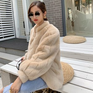 Faux fur imitation mink coat with puff sleeves for girls with thick warm luxury imitation mink coat short style 200921