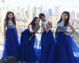 Royal Blue Long Bridesmaid Dresses with Sleeves 2021 Lace Top Puffy Skirt Junior Maid of Honor Wedding Guest Party Gowns