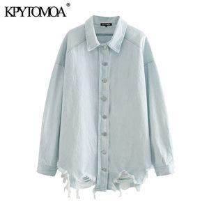 KPYTOMOA Mulheres 2020 tops de manga longa de Moda Oversized Ripped Denim Jacket Brasão Vintage Buraco solto Feminino Casacos Chic