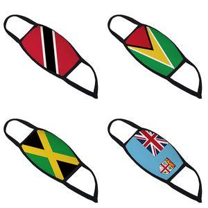 3D viento impresa Trinidad Guyana Jamaica Bandera de Fiji y la cara diseñador respirador para polvo enmascaran transfronterizas mascarillas transpirable