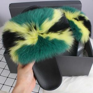 Indoor House Slippers Fox Fur Womens Summer Slides Flip Flops Popular Fluffy Fur Sandals Beach Woman Shoes Slipper