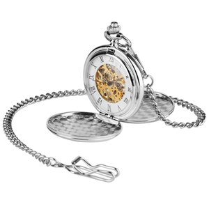 Silver Smooth Case Vintage Roman Number Hand Wind Mechanical Pocket Watch Double Open Hunter case fob watches Men Women Gift T200502