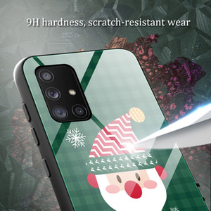 Merry Christmas Tempered Glass Case For Samsung S20 Ultra M30S A20S A10S A90 S10 PLUS S9 A10 A20 Bling Santa Claus Back Phone Cover Fashi
