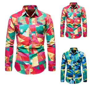 SZMXSS Uomini geometrica casuali dimagriscono le camice di moda sociale Streetwear manica lunga maschile camicie button Classic Tops Cotone Lino