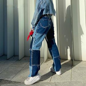 Meqeiss 2020 nouveau jeans taille haute Femmes occasionnels Trouses longues Dames Patchwork Mode Denim Pantalons Capris Pocket Streetwear