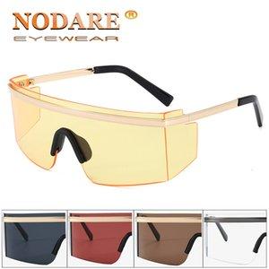 Nuevas gafas Amarillo Gafas de sol Marco Siamés Recortado con estilo Sin marco Nodare Nodare Decorativo 2020 Gran Sol Gradiente GCPHO