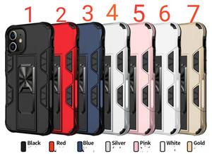 Rüstung Telefon-Kasten für iphone12 12pro 12proMAX 12max 11 11Pro 11PROMAX 2in1 PC Silikon-Magneten mit eingebautem Ständer Metall-Patch