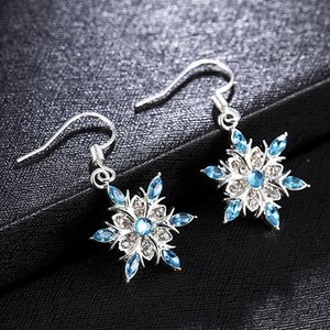 Elegant Blue Rhinestone Snowflake Drop Earrings for Women Girls Christmas Jewelry Ear Accessories Gift Statement Cubic Zircon Dangle Earring