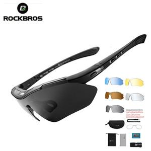 Rockbros Polarized sport degli uomini degli occhiali da sole di ciclismo su strada i vetri della bici di montagna della bicicletta di protezione di guida Occhiali Eyewear 5 Lens