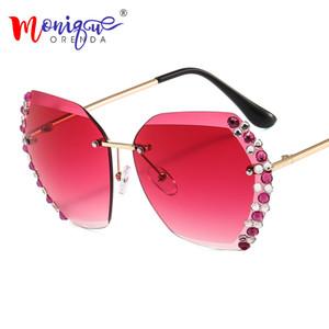 Woman Lady Eyewear Side Colorful Men Retro Clear Luxury Rimless Gold Rhinestone Diamond Gradient Glass Lens Sun Frame Sunglasses Rolbg