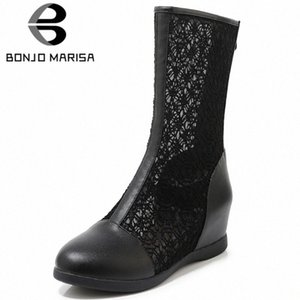 BONJOMARISA New 33 43 Ladies Elegant Height Increasing Summer Boots Breathable Mesh Boots Women 2020 Comfort Shoes Woman 2H7b#