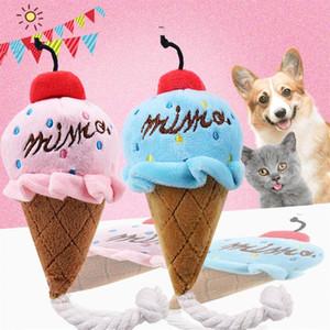Animais dos desenhos animados Dog Toys Stuffed Squeaking Toy Pet Plush bonito quebra-cabeça para Cães Cat Chew Squeaker Squeaky Pet Ice Cream Toy
