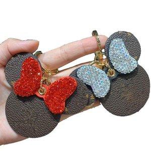 Cuir blingbling trousseaux femmes Bijoux Trousseau strass Pendentif cadeau de Noël porte-clés Fille initiale Porte-clés