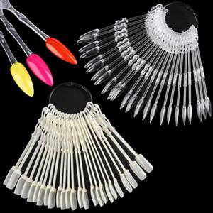 24pcs False Nail Tips Natural Clear Black Fan Color Card Nail Art Display Practice Tools Acrylic UV Gel Polish Manicure TR1818