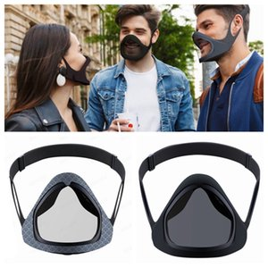 Protective Face Mask Shield Plastic Screen Full Face Cove Removable Mirror Silicone Masks Anti Fog Protective Masks With Glasses LJJP479