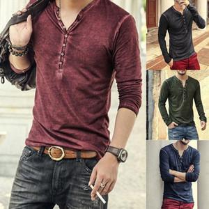 2020 Мужчины Tee Shirt V-образным вырезом с длинным рукавом TeeTops Стильный тонкий Пуговицы Футболка Осень Повседневная Твердая Мужчины Одежда Плюс Размер 3XL