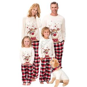 Suit Noel Elk Gecelik Karikatür pijamalar D91608 Eşleştirme Aile Noel Pijama 2 Adet Polar Çizgili Bluz Tişörtlü Ekose Pantolon Pantolon