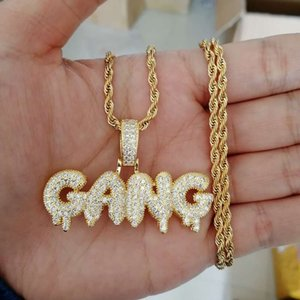 hip hop letters GANG pendant necklaces for men luxury diamonds pendants real gold plated zircons gold silver fashion jewelry