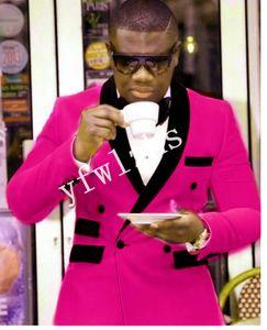 Handsome Velveteen Groomsmen Double-Breasted Wedding Groom Tuxedos Men Suits Wedding Prom Dinner Best Man Blazer(Jacket+Tie+Pants) T221