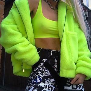 Hoodie Women Neon Plush Zipper Fleece Teddy Sweatshirts Ladies Coat Winter Warm Wool Zip-Up Cotton Coat Outwear Sweatshirt 0915