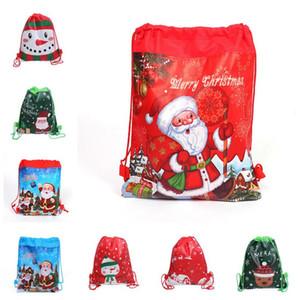 Рождество Drawstring Рюкзак Сумки Xmas Дети Конфеты Подарки для хранения сумки Переносной Totes Большие Кошельки Кошельки Санта Снеговик Pattern Дешевые F91301