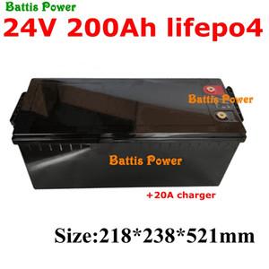 Waterproof 24V 200AH lifepo4 Battery no 100AH 300AH for Inverter Solar RV EV AGV Ski car golf cart backup power + 20A Charger